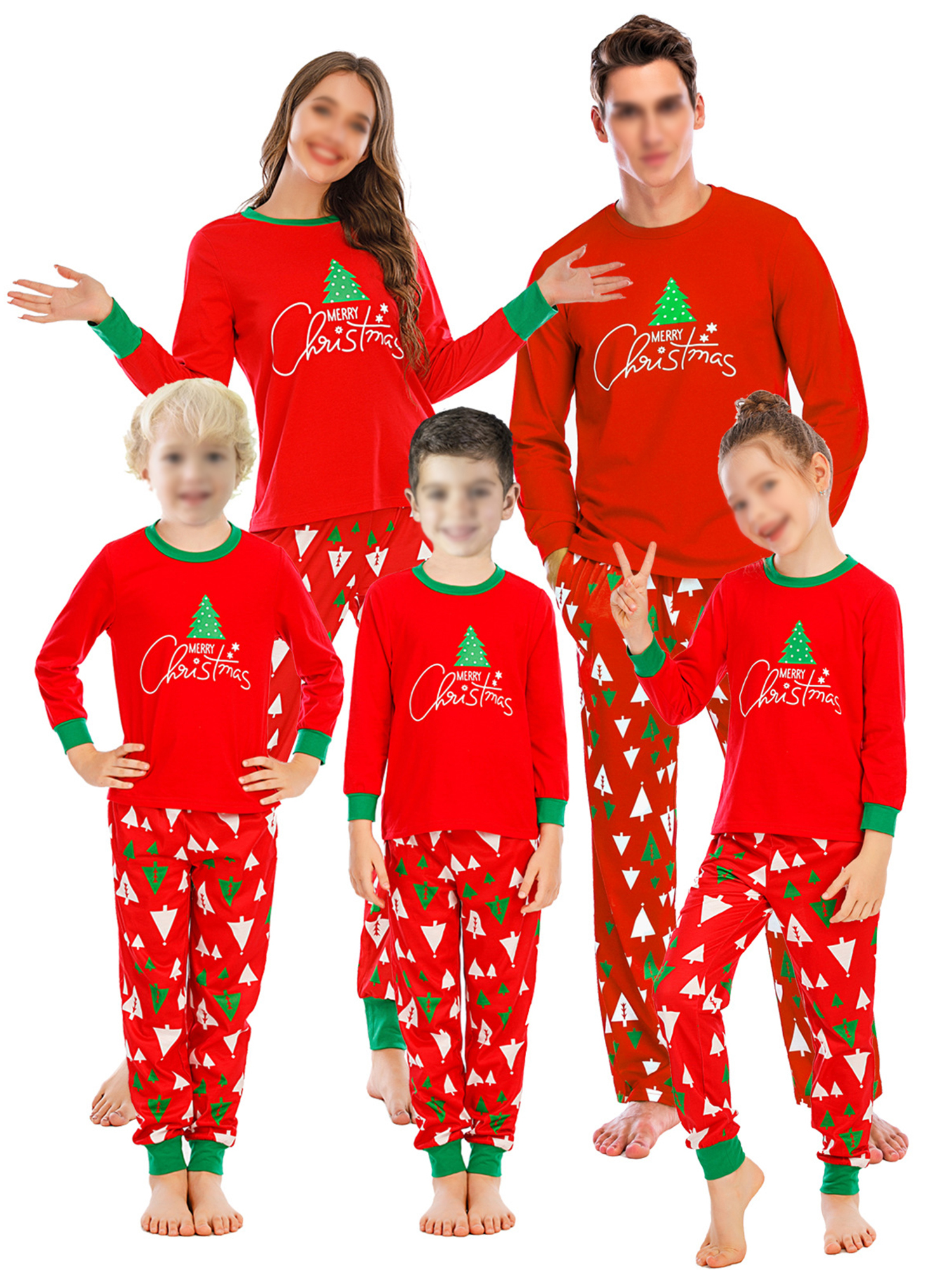 Avamo - Avamo Long Sleeve Pajamas Set Family Matching Christmas Outfits  Soft Cotton Clothes Sleepwear Night Wear Loungewear 7pcs Cozy Pjs Sets With