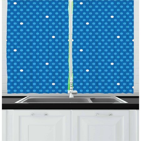 Bold Dot (Blue Curtains 2 Panels Set, Bold Polka Dots in Blue and White Colors Cute Fun Retro Style Kids Design, Window Drapes for Living Room Bedroom, 55W X 39L Inches, Blue)