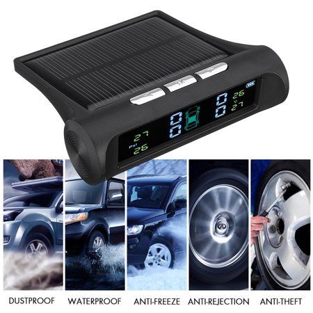 Solar TPMS Tire Pressure Monitoring System Wireless TPMS with LCD Color Display/4 External Sensors for