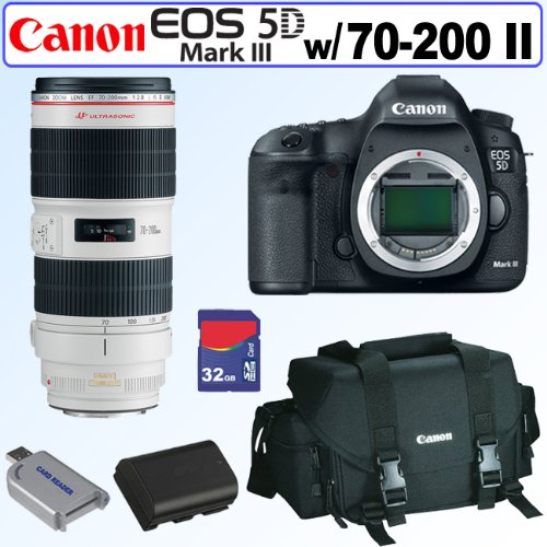 Canon EOS 5D Mark III 22.3 MP Full Frame CMOS with 1080p Full-HD Video Mode Digital SLR Camera (Body) + EF 70-200mm f/2.8L IS II USM Telephoto Zoom Lens + Canon Gadget Bag + 32GB Accessory Kit