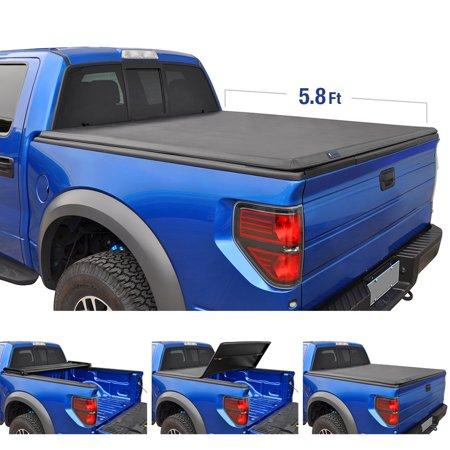 Tyger Auto T3 Tri-Fold Truck Bed Tonneau Cover TG-BC3C1006 for 2014-2019 Chevy Silverado / GMC Sierra 1500 | Fleetside 5.8' Bed | For models without Utility Track (Best Folding Tonneau Cover For Silverado)