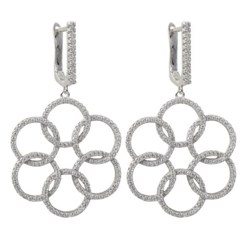 Luxiro  Sterling Silver Cubic Zirconia Floral Circles Dangle Earrings