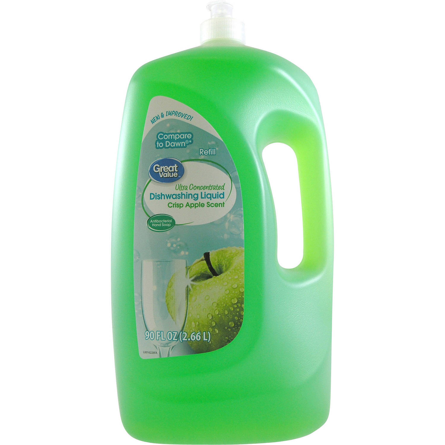 Great Value Ultra Concentrated Dishwashing Liquid, Crisp Apple Scent, 90 oz