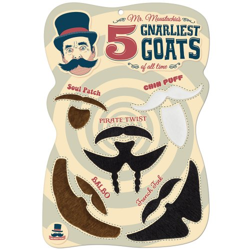 Mr. Moustachios Five Gnarliest Goats of All Time, Fake Goatee Costume Party Assortment