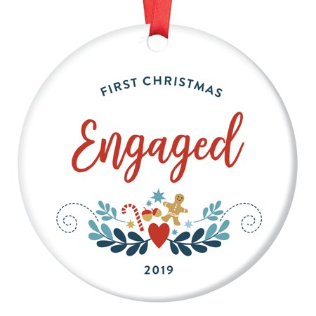 First Christmas Engaged Ornament 2019 Engagement Bridal Shower Bachelorette Party Gifts Days Until Wedding Countdown Presents Cute Farmhouse Gingerbread 3