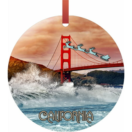 Halloween Over Bring On Christmas (Santa and Sleigh Over the Golden Gate Bridge, San Francisco Flat Round - Shaped Christmas Holiday Ornament - Double-Sided - Made in the)