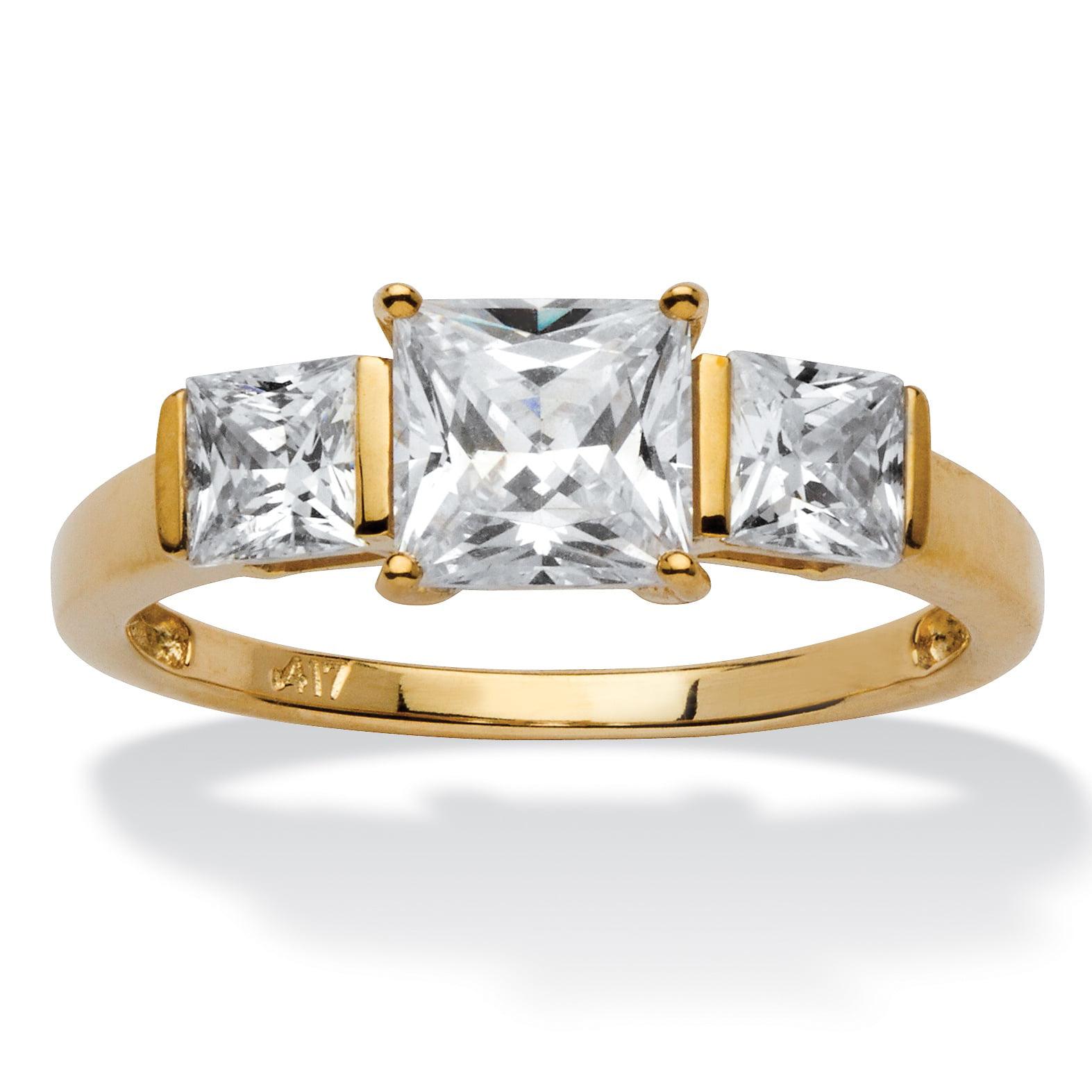 PalmBeach Princess-Cut Cubic Zirconia 3-Stone Bridal Enga...