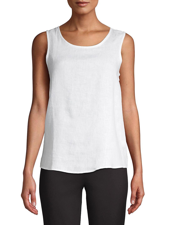 Sleeveless Button-Back Linen Top