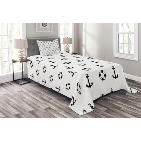 Nautical Bedspread Set, Maritime Theme Objects Anchors and Lifebuoys Pattern Navy Ocean High Seas, Decorative Quilted Coverlet Set with Pillow Shams Included, Black and White, by Ambesonne ()
