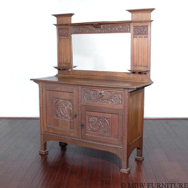 Antique Oak Art Nouveau Buffet Sideboard Server