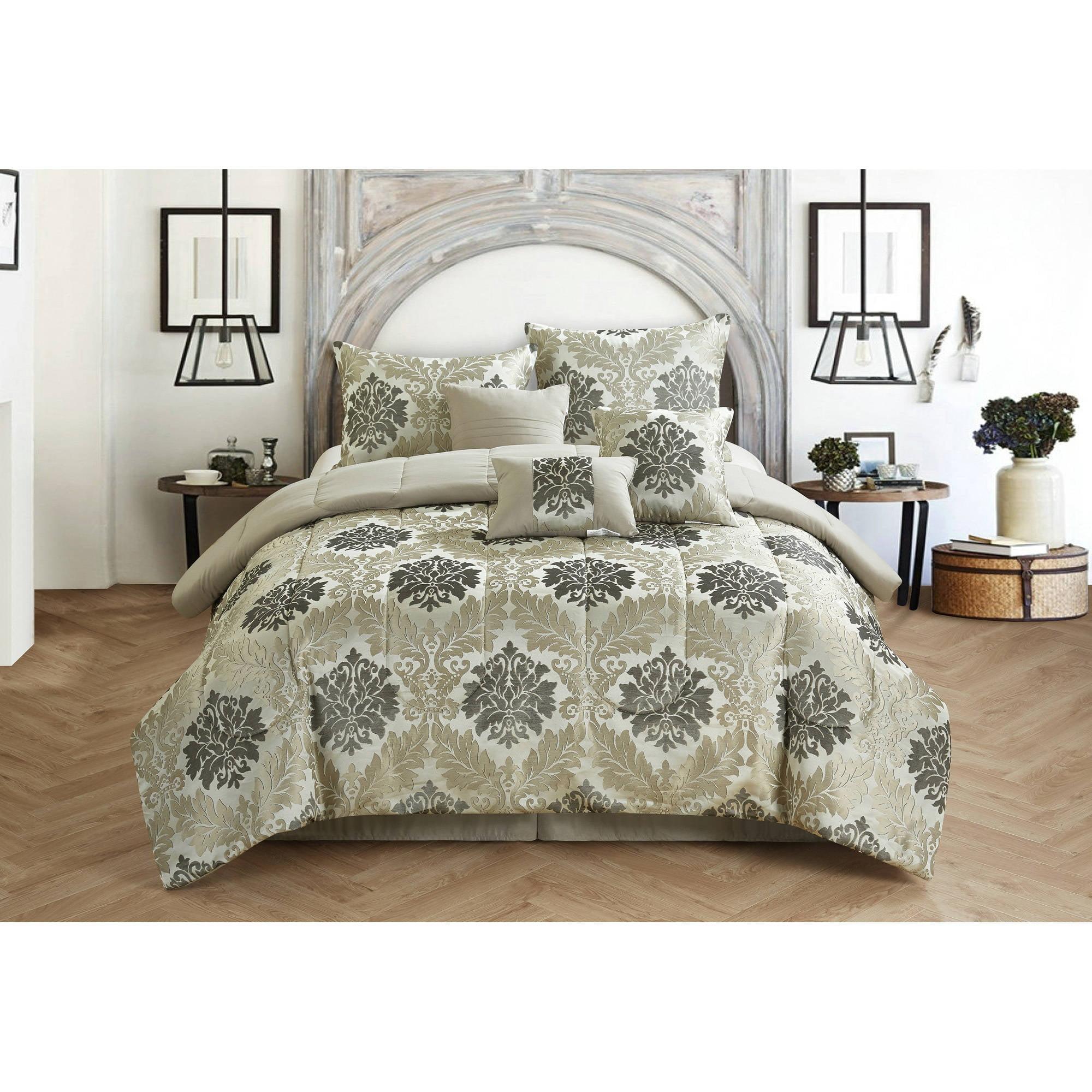 CASA Victoria Jacquard 7-Piece Bedding Comforter Set by Idea Nuova
