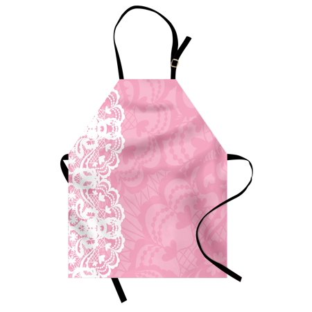 Pink and White Apron Vertical Floral Lacework Style Graphic Ornament Abstract Feminine Design, Unisex Kitchen Bib Apron with Adjustable Neck for Cooking Baking Gardening, Pink White, by Ambesonne