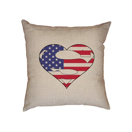 A Heart with American Flag and Big S in the Middle - Unique Decorative Linen Throw Cushion Pillow Case with (Middle Insert)