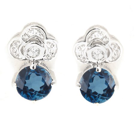 Sterling Silver with Natural London Blue Topaz and White Zircon Drop Earring