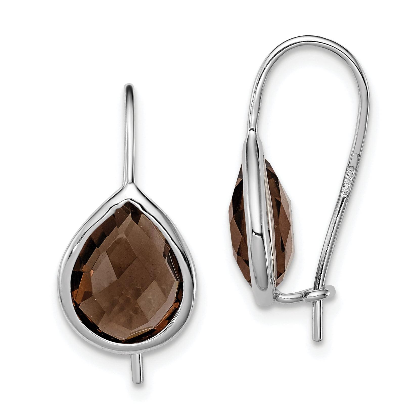 Silver Statement Earrings Vintage Faceted Teardrop Smoky Quartz Sterling Silver Dangle Earrings