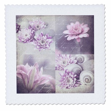 3dRose Pastel Colored Mixed Media Flower Collage - Quilt Square, 10 by 10-inch