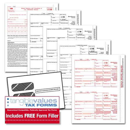 Tangible Values 1099 Misc Laser Tax Forms (5-Part) Kit with Envelopes Plus  Online Form Filler for 12 Individuals/Suppliers (2018)