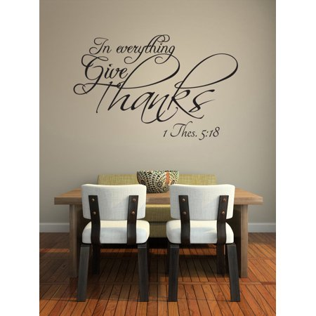 In Everything Give Thanks Vinyl Wall Decal Christian Quotes Thanksgiving Home Sticker Decor Fall Holiday Words Lettering Sayings J171