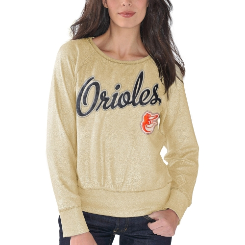 Baltimore Orioles G-III 4Her by Carl Banks Women's Cover 2 Crew Neck Sweater - Gold