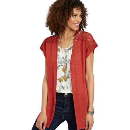 Red Crocheted Trim Dolman -