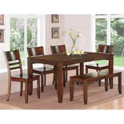 lyfd6 esp w 6 piece kitchen table with bench table with leaf and - Dining Kitchen Table