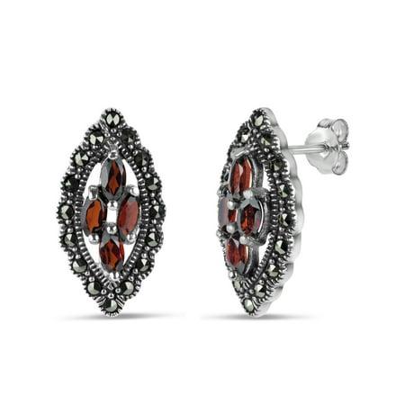 Genuine Garnet and Swarovski Marcasite Sterling Silver Oxidized Stud Earrings