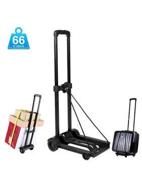 UBesGoo Heavy Duty Foldable Utility Luggage Cart, Portable Fold Up Dolly Trolley Car, Small Mini Shopping Hand Truck, 66 lbs Maximum Load, for Luggage, Personal, Travel, Moving and Office Use