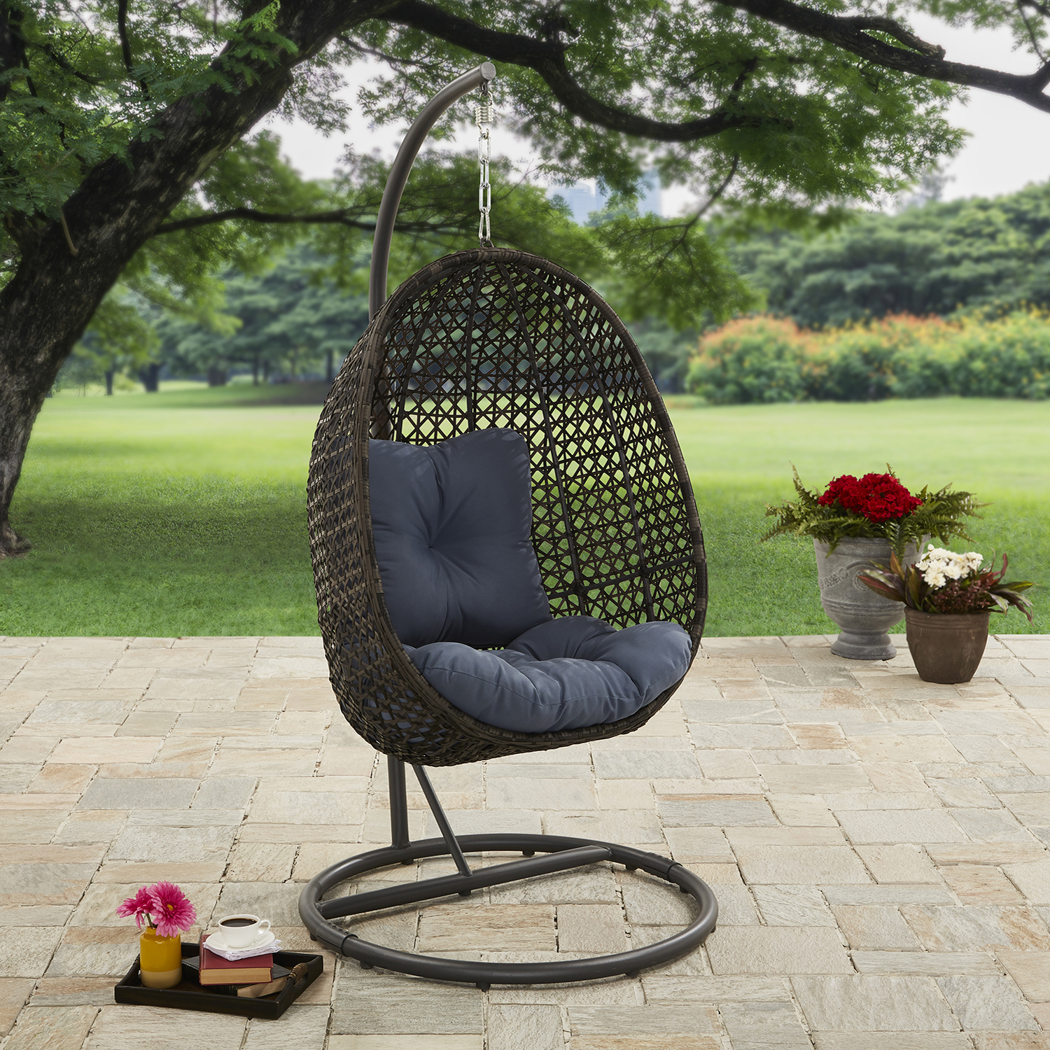 Better Homes And Gardens Lantis Outdoor Wicker Hanging Chair With Stand by Better Homes & Gardens