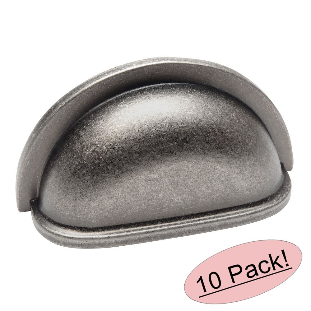 "Cosmas 4310WN Weathered Nickel Cabinet Hardware Bin Cup Drawer Handle Pull - 3"" Inch (76mm) Hole Centers - 10 Pack"