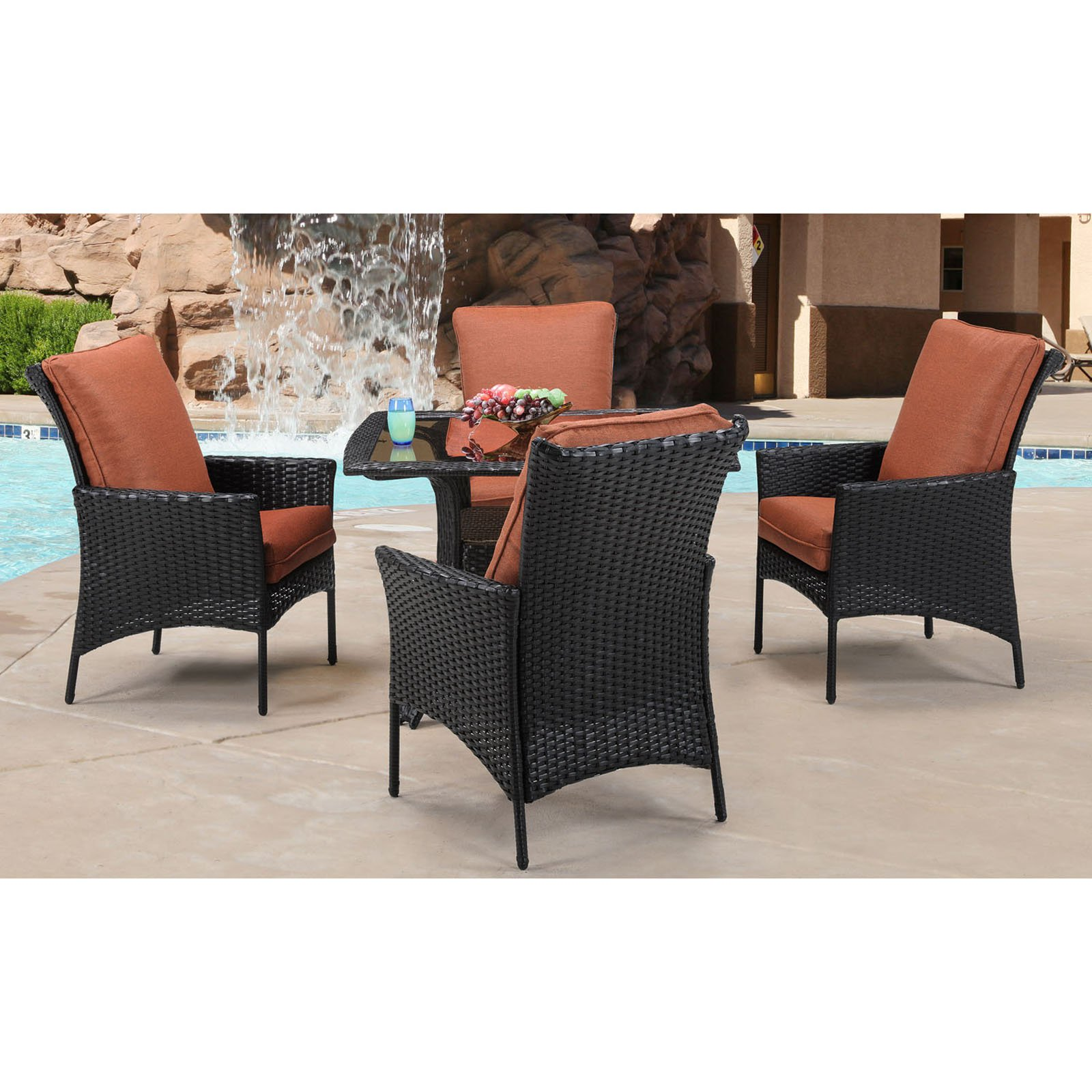 Hanover STRALDN5PCSQ Strathmere Allure 5-Piece Steel Framed Polyethylene Wicker