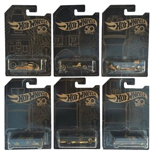Hot Wheels 2018 50th Anniversary Black and Gold Series Complete Set of 6 Diecast Cars