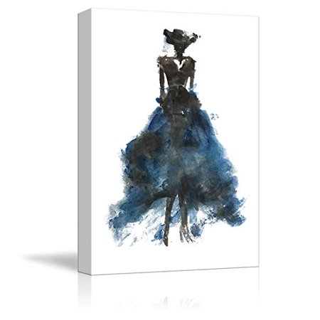 Fashion Reproduction - wall26 Canvas Wall Art - Fashion Lady Modern Woman Concept - Blue Dress | Watercolor Painting Style Minimalism Art Reproduction - 12