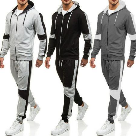 - Men Tracksuit Jogging Top Bottom Sport Sweat Suit Trousers Hoodie Coat Pant