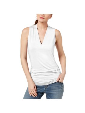 ddb6be122ce3c3 Product Image INC International Concepts Womens Ruched V-Neck Top WHITE XXL