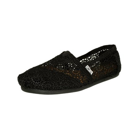 Toms Women's Alpargata Moroccan Crochet Black Ankle-High Cotton Slip-On Shoes - 6.5M