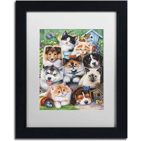 Trademark Fine Art 'Kittens & Puppies In The Garden' Canvas Art by Jenny Newland, White Matte, Black Frame
