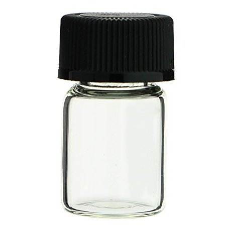 CASE OF 144 GLASS VIALS - 1/2 DRAM (1/16 OZ.) CLEAR WITH SCREW CAPS (Plastic Vials With Screw Caps)