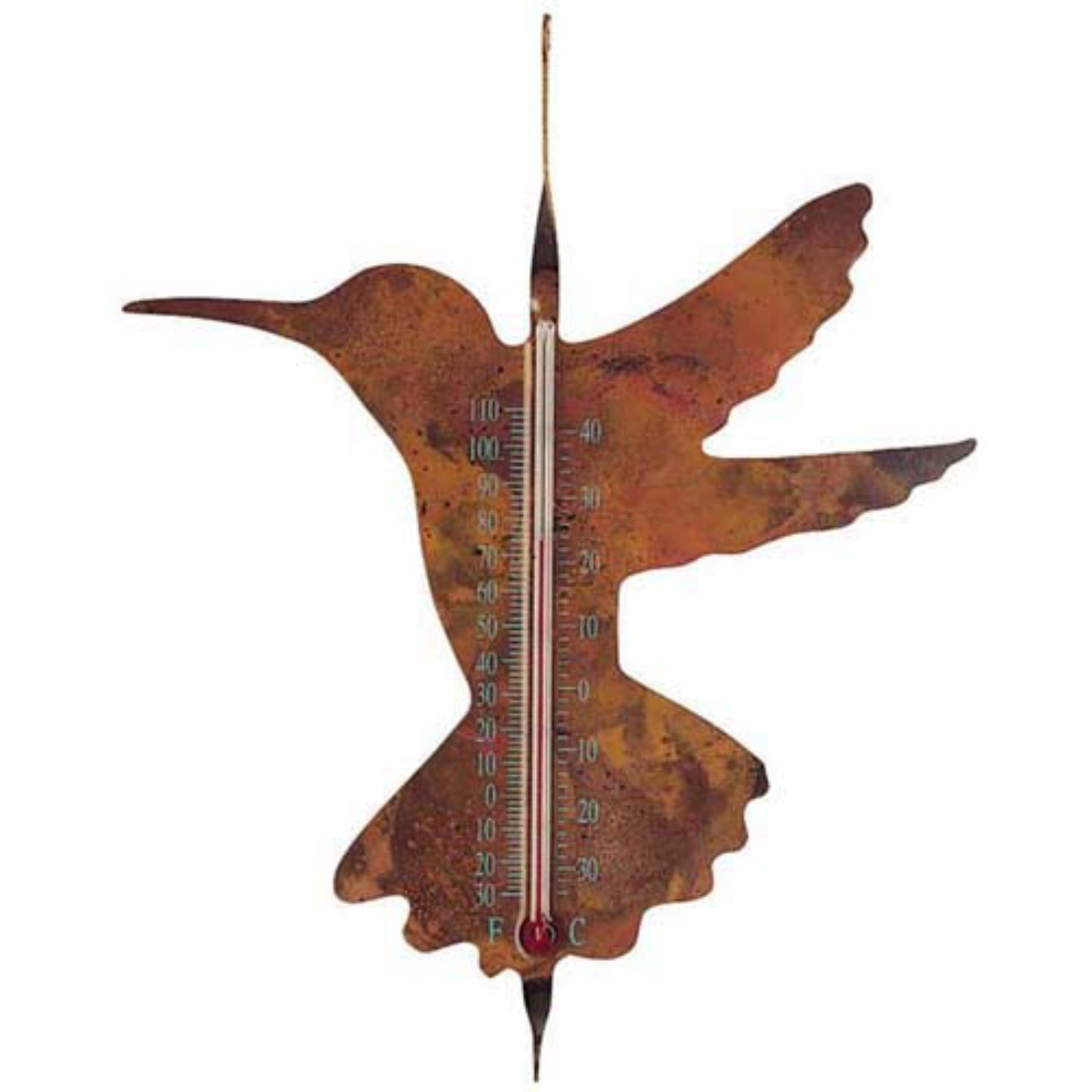 Ancient Graffiti Copper Hummingbird Thermometer