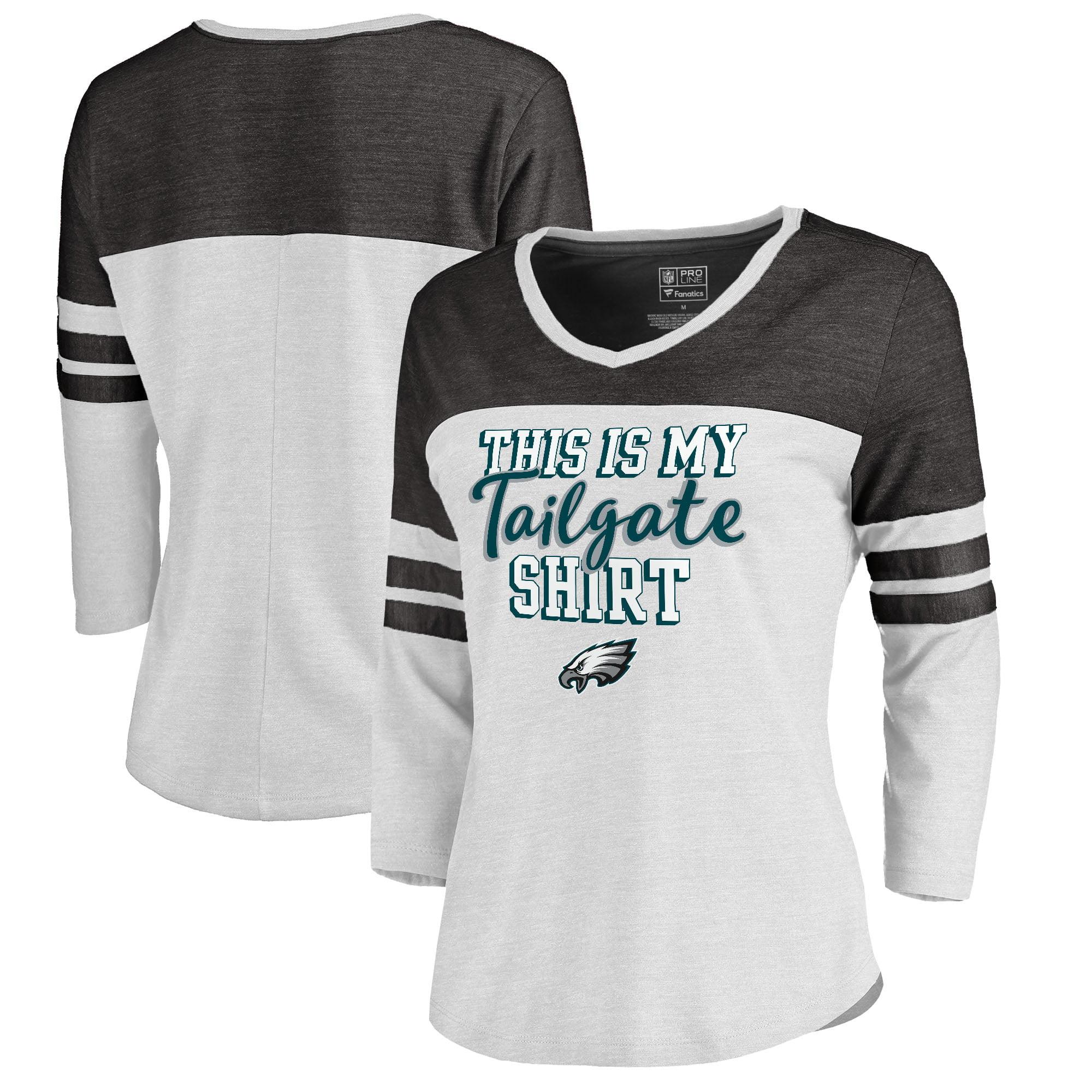 Philadelphia Eagles NFL Pro Line by Fanatics Branded Women's Plus Size Air Color Block Tri-Blend 3/4-Sleeve T-Shirt - White
