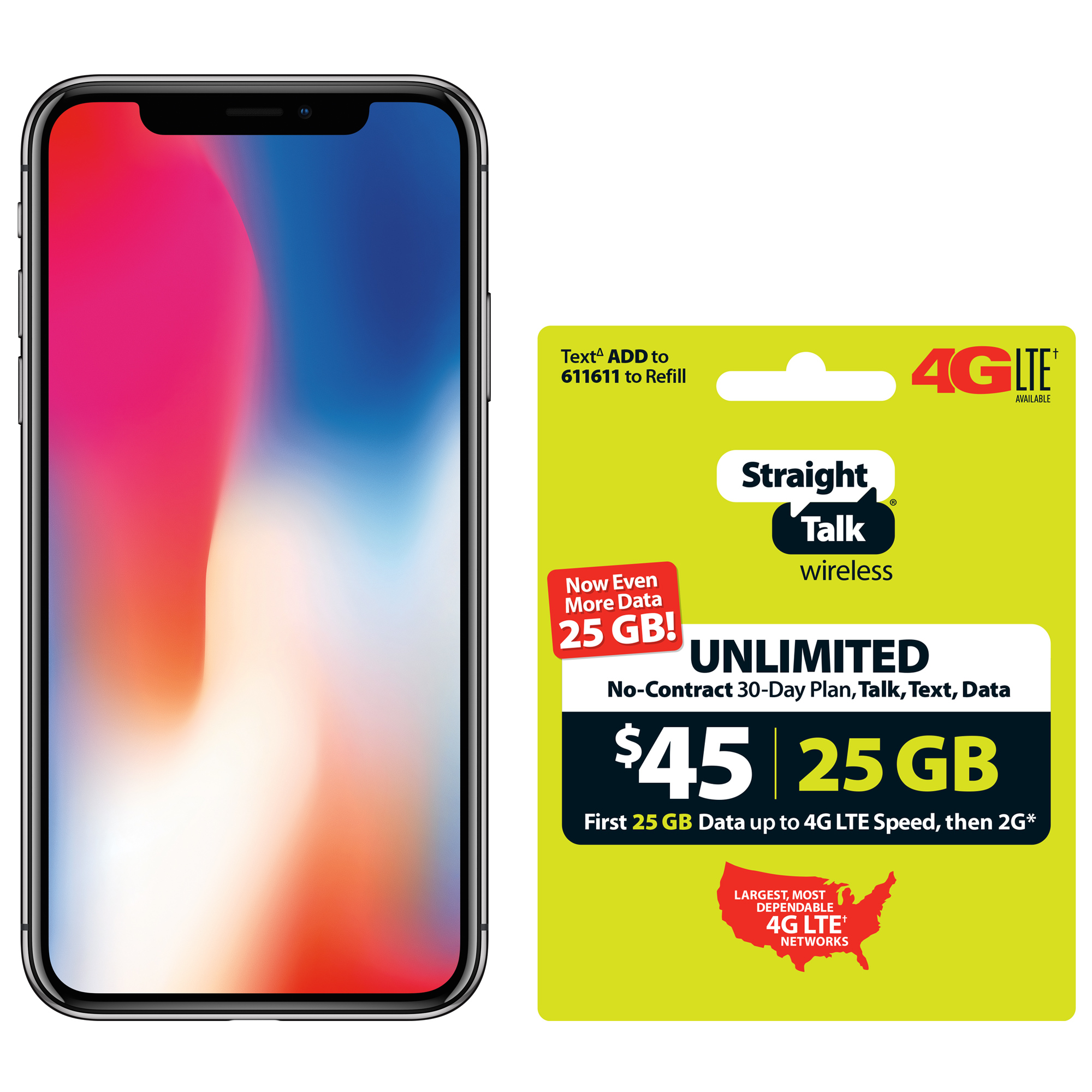 Straight Talk Apple iPhone X Bundle with $45 airtime plan, Gray