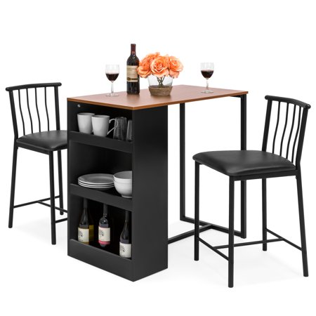 Best Choice Products 36-Inch Wooden Metal Kitchen Counter Height Dining Table Set w/ 2 Stools, Espresso ()