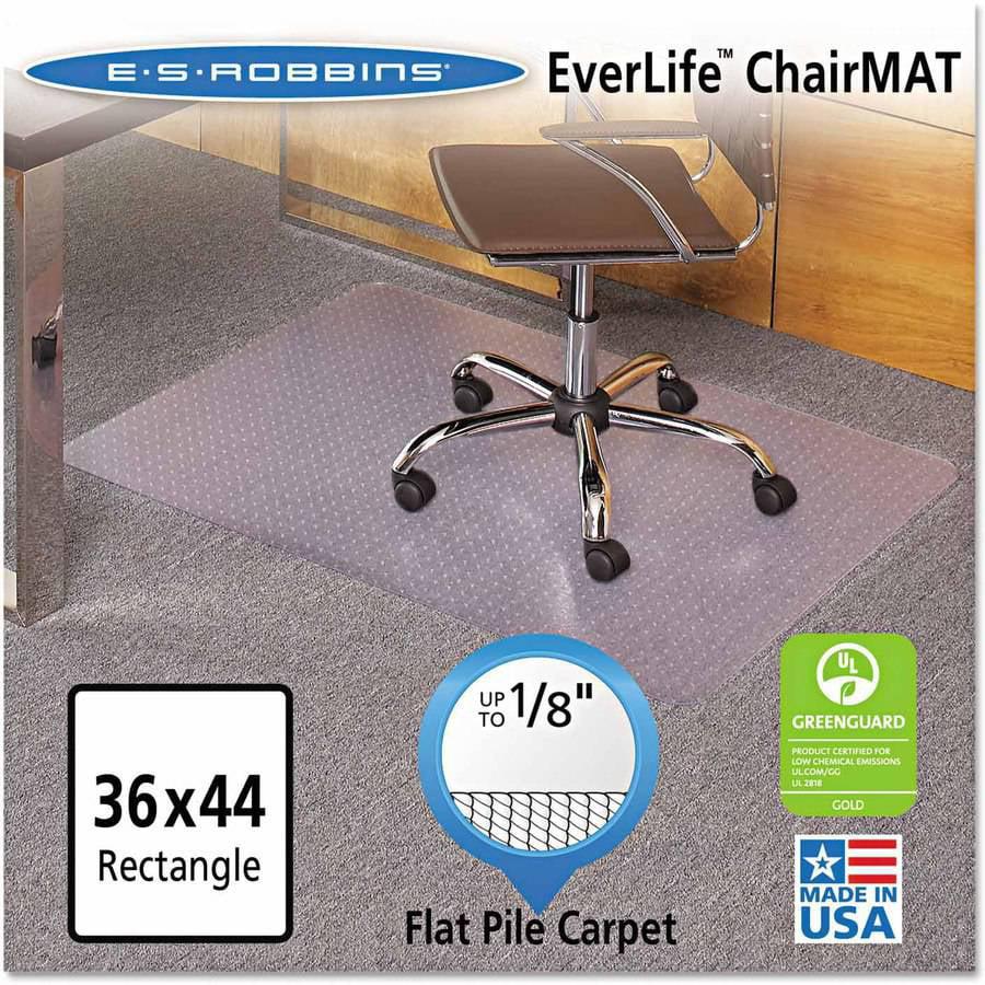 "ES Robbins EverLife Chair Mats For Medium Pile Carpet, Rectangular, 36"" x 44"", Clear"