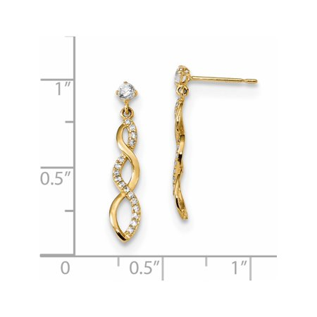 14k Boucles d'oreilles en or jaune Madi K CZ Twisted Dangle (post) de 4.2x24mm - image 1 de 2