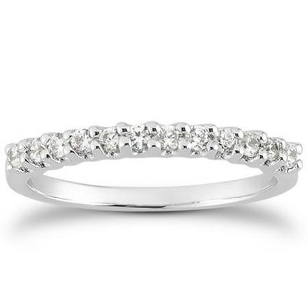 14K White Gold Fancy U Setting Shared Prong Diamond Wedding Ring Band Size - 4.5