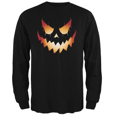 Halloween Evil Jack-O-Lantern Pumpkin Black Adult Long Sleeve - Halloween Is Evil