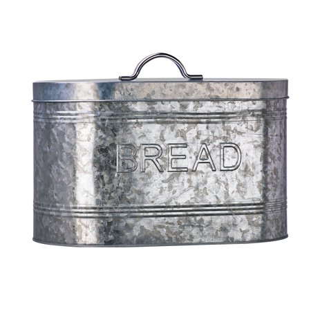 Bread Canister - Rustic Kitchen Galvanized Metal Bread Storage Canister, 288 oz