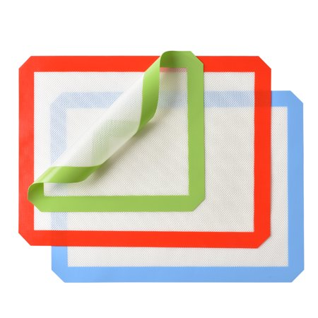 Silicone Baking Mat Set of 3, 2 x Standard Half Sheet, 1 X Toaster Oven, Non Stick Heat Resistant Baking Cookie Sheets
