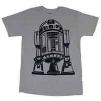 Star Wars Mens T-Shirt - Giant R2-D2 Black Lined Drawn Image