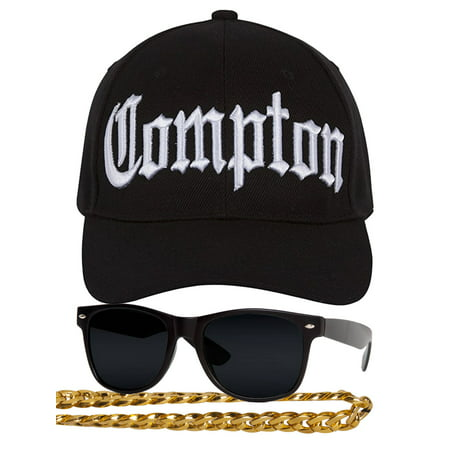 Compton 80s Rapper Costume Kit - Curved Bill Hat + Sunglases + Chain Necklace (80s Pop Culture Halloween Costumes)