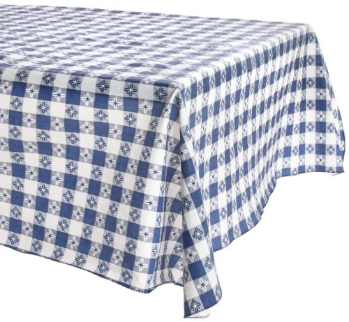 Kane Home Products Eco Vinyl Tablecloth, Blue Check, 52-Inch by 90-Inch